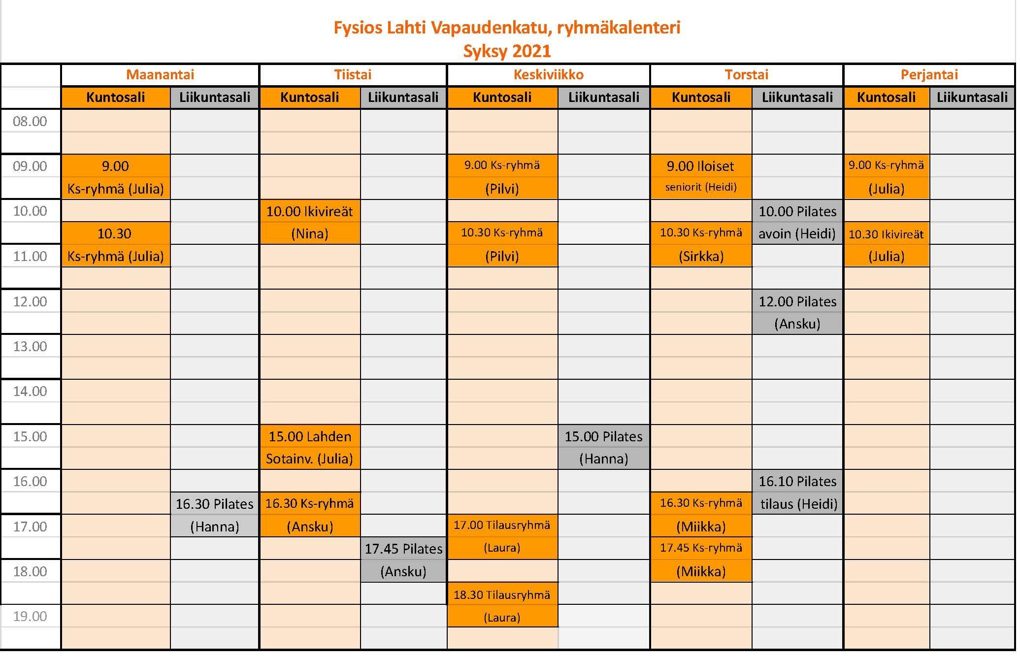 Fysios Lahti Vapaudenkatu, ryhmäkalenteri