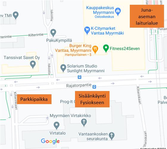 Fysios Vantaa Myyrmäki kartta