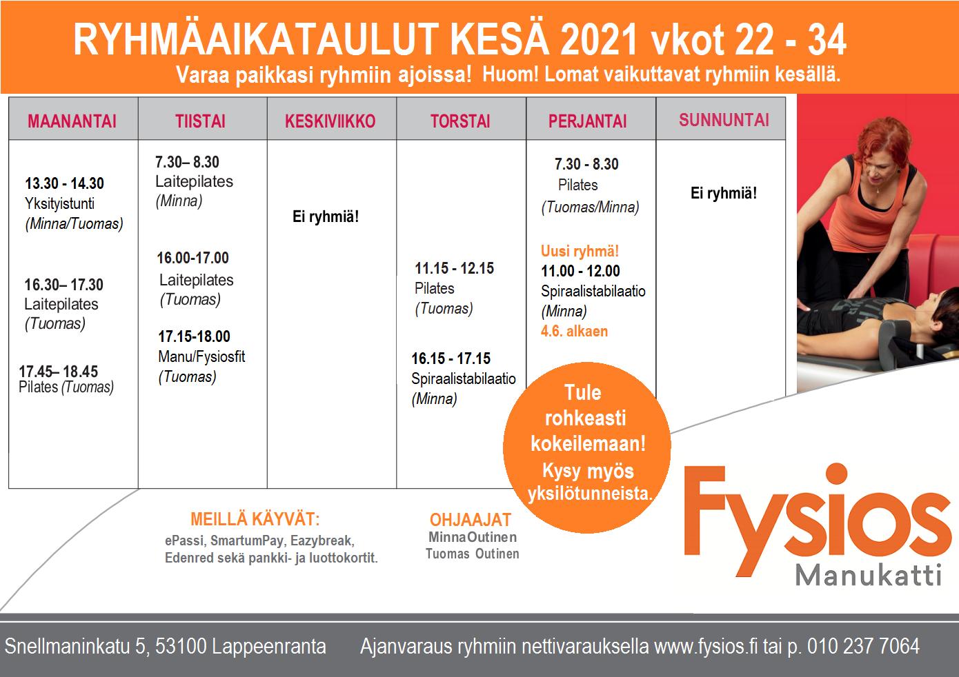 Fysios Manukatti ryhmät kesä 2021