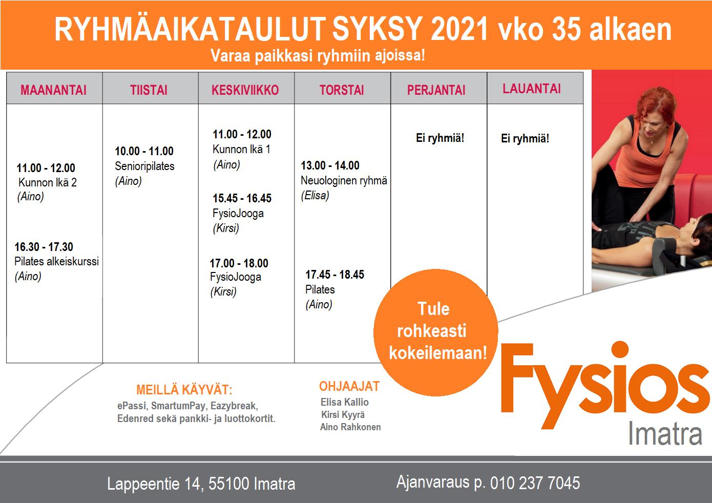 Fysios Imatra ryhmäaikataulu syksy 2021