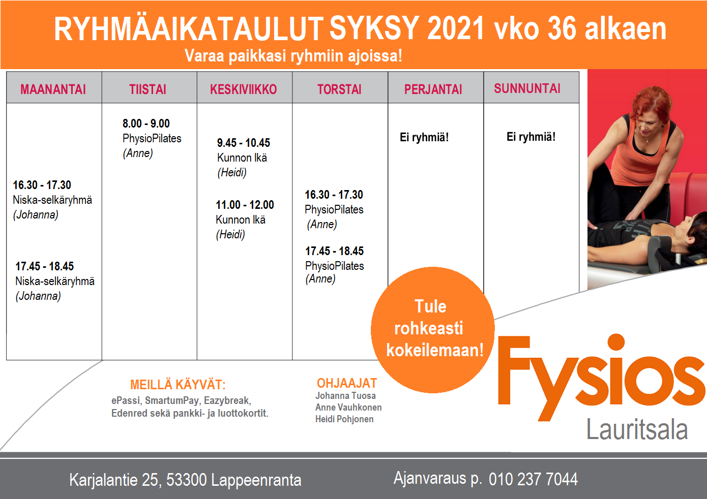 Fysios Lauritsala ryhmäaikataulut syksy 2021