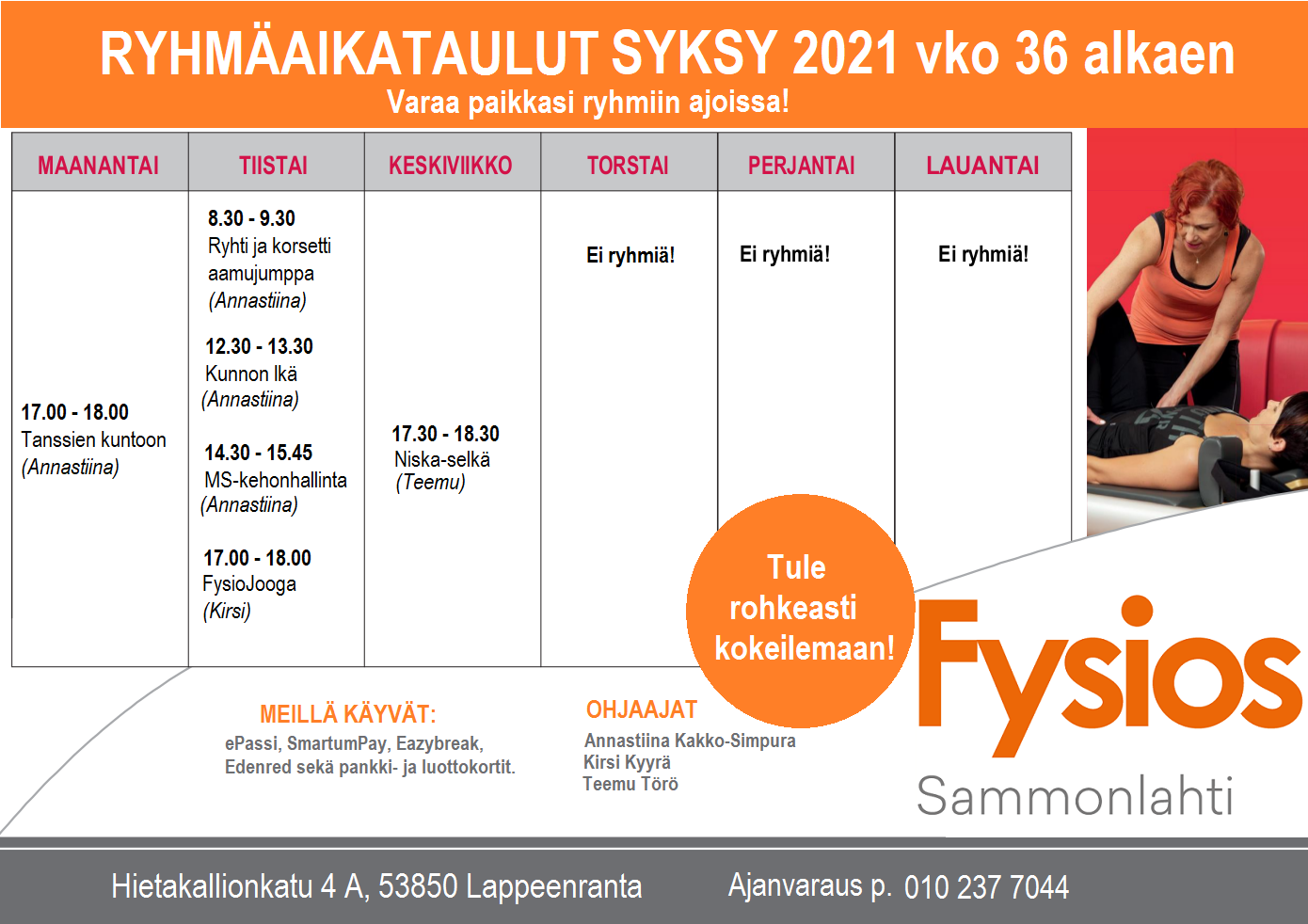 Fysios Lappeenranta Sammonlahti ryhmäaikataulu syksy 2021